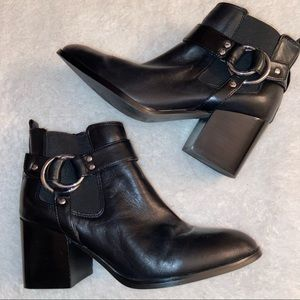 Marc Fisher Black Leather Ankle Boots 9M